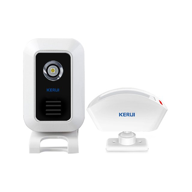 Kerui M7 Split Doorbell & Welcome & Alarm Host with P817 PIR Sensor, Operating at over 650 Feet with 32 Chimes, 4 Volume Levels, 4 Working Modes, Can Add 30pcs Accessories, 1 Receiver & 1 Transmitter