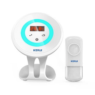 Kerui M536 Temperature Display Doorbell with F54 Push Button, Operating at over 500 Feet with Thermometer Display, 58 Chimes, 4 Volume Levels, 1 Receiver & 1 Push Button